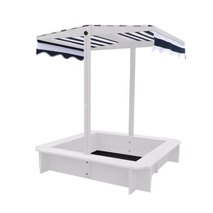 Image of Oliver & Kids Sandbox With Canopy 117*117*117 cm White/Navy Blue (3125328045)